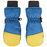 ANDORRA Boys Color Block Weather-Proof Thinsulate Snow Mittens, Long Snow Cuff