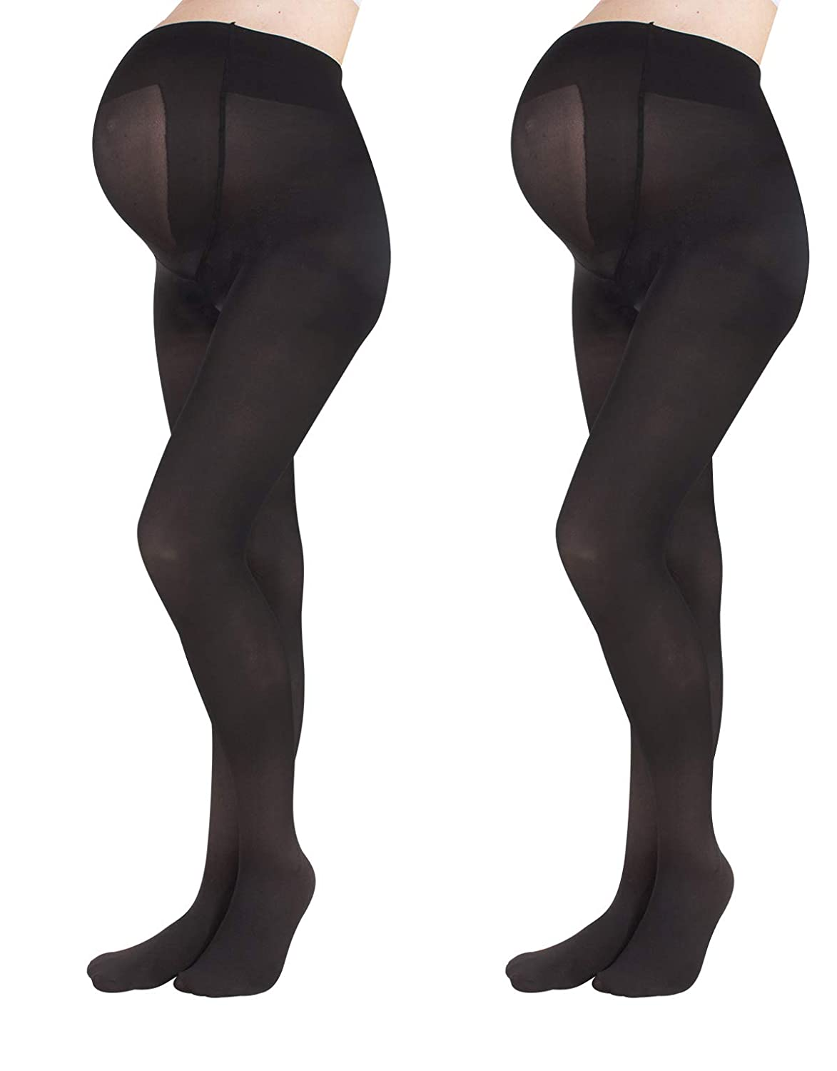 00ff932dc762e 2 PAIRS MATERNITY TIGHTS | PREGNANCY OPAQUE PANTYHOSE | 40 DEN | S M L XL |  BLACK