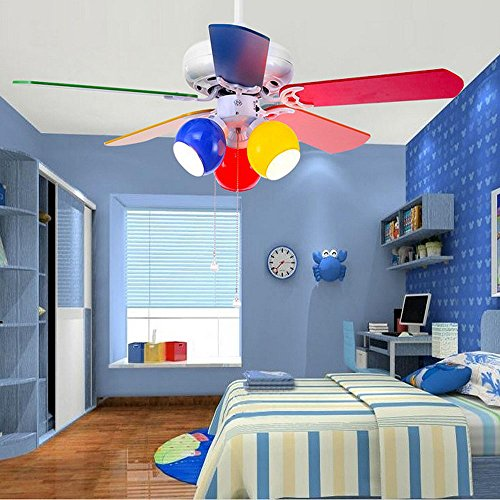 RainierLight Colourful Cartoon Kid Ceiling Fan 5 Wood Leaves Pull Rope Protect Eyesight Mute For Bedroom/Living Room/Kids Room 42-Inch Children Round Circles Chandelier Remote Control(White) by RainierLight (Image #1)