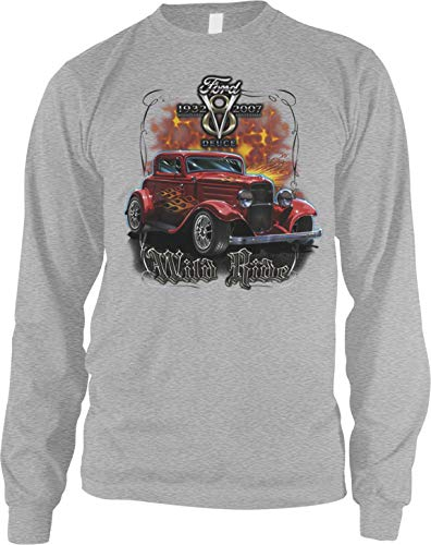 - Amdesco Men's 1932 Ford Deuce Coupe Long Sleeve Shirt, Heather Gray Large