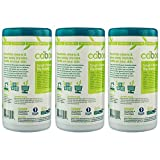 Caboo All Purpose Bamboo Cleaning Wipes, Eco Friendly and Compostable Multi-Surface Kitchen Wipes - Apple Scented, 3 Canisters, Total of 210 Wipes