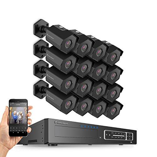 (Amcrest 4MP Security Camera System, w/ 4K 32CH (16-Port PoE) NVR, (16) x 4-Megapixel 3.6mm Wide Angle Lens Weatherproof Metal Bullet POE IP Cameras, NV4432E-HS-IP4M-1026EB16 (Black))