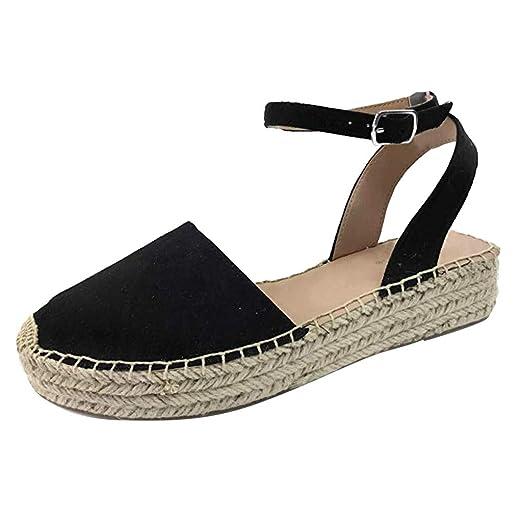 abb4aece8f6b5 Sunskyi Women's Closed Toe Espadrille Sandals, Ladies Comfort Thick ...