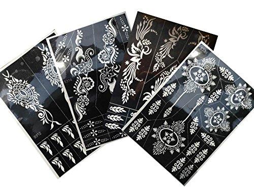 4 Grande Fogli Mehndi Tattoo Stencil Tally Mehndi Tatuaggi all'hennè - Per Tatuaggio all'henné, scintillio tatuaggio e airbrush tatuaggio Tie s330