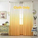 Cheap WPKIRA Home Fashion Unique Gradient Color Polyester Window Treatments Decorative Window Curtains Drapes For Living Room Girls Bedroom Rod Pocket Top , 1 Panel , White and Yellow W114 x L84 inch