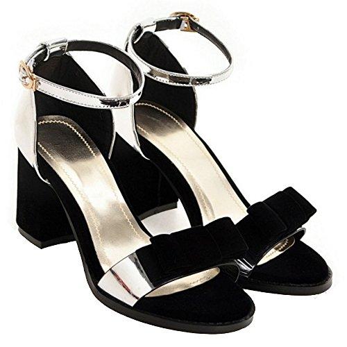 TAOFFEN Block Women Silver Heel Sandals CBBYq5rwx
