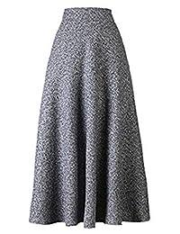 British style cultivate morality autumn winter long high waist wool skirt dress (XL=waist 30.5 in, gray)