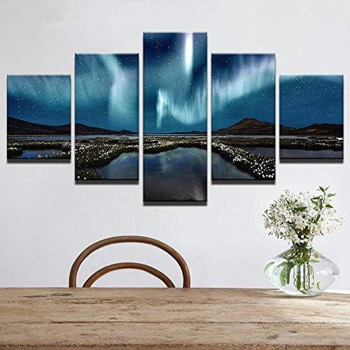 Impresión en Lienzo HD 5 Piezas de montañas y llanuras de la Ciudad Paisaje de Aurora para decoración de Arte de Pared de Sala de Estar Decorativa Moderna: Amazon.es: Hogar
