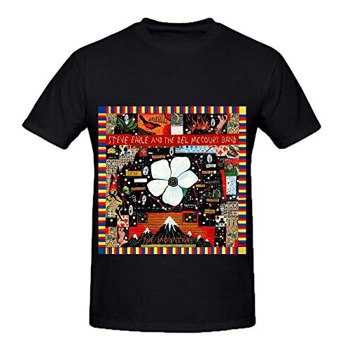 Steve Earle The Mountain Hits Mens Round Neck DTG Tee Shirts Black (Homer Simpson Muscle)
