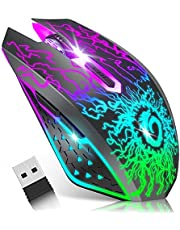 VersionTECH. Wireless Mouse Gaming Rechargeable Computer Mouse Mice Souris with Colorful LED Lights Silent Click 2.4G USB Nano Receiver 3 Level DPI for PC Gamer Laptop Desktop Chromebook Mac