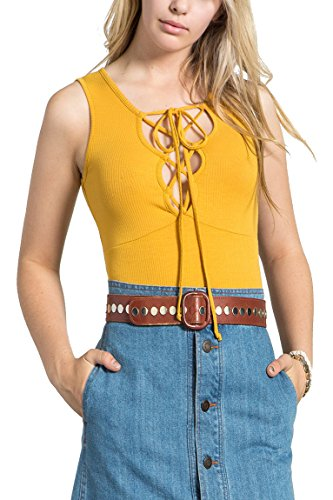 - MeshMe Womens Darby - Mustard Yellow Laced up Bust Super Detail Ribbed Tank Top
