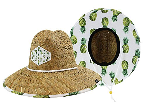 Fabric Hat Pattern - Woman''s Sun Hat Straw Hat with Fabric Print Lifeguard Hat Great for Beach Ocean, Cruise, and Outdoor, Malabar Hat Co. (Pineapple Yellow)