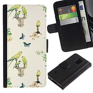 For Samsung Galaxy S5 V SM-G900,S-type® Birds Spring Wallpaper Vintage - Dibujo PU billetera de cuero Funda Case Caso de la piel de la bolsa protectora