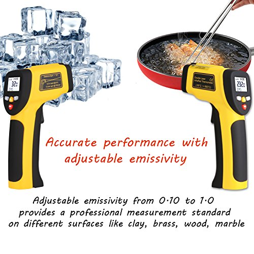 Dual Laser Infrared Thermometer, Zenic Professional Non-Contact Digital Temperature Measuring Gun with Adjustable Emissivity for Cooking / Brewing / Automobile & Industries, -50-650℃, D:S=12:1 by zenic (Image #4)