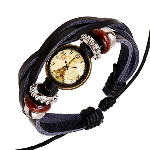 Mens Womens Handmade Braided Leather Wrap Bracelet with Charm Beaded - Tailgate Best Songs