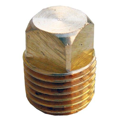 LASCO 17-9175 1/4-Inch Pipe Thread Brass Square Head Plug Brass Square Head Plug