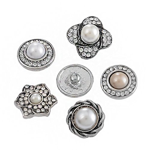 Souarts 20mm Pack of 6pcs Random Mixed Antique Silver Color Snap Button Jewelry Charms