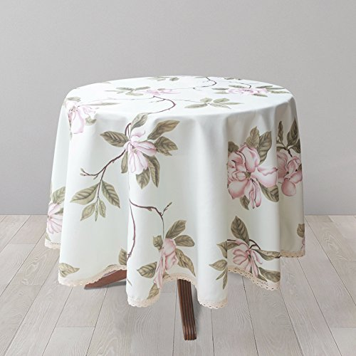 Weiwo Decorative Floral Print Polyester Round Tablecloth Waterproof Fabric Lace Table cloth, Table cover For Dining Room and Party (70x70­-Inch, Pale Mint Green) - Print Tablecloth