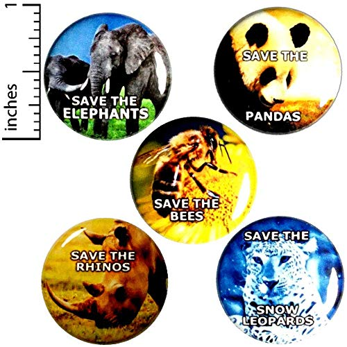 Save The Planet 5 Pack Buttons Wildlife Pin Awareness Cool Badge Pinback 1