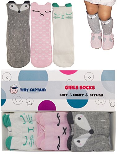 Baby Girl Knee High Long Socks No Slip Toddler 8-24 Months Leg Warmer Gift Set for 1 Year Old Girl from Tiny Captain (Small, Pink White Grey)