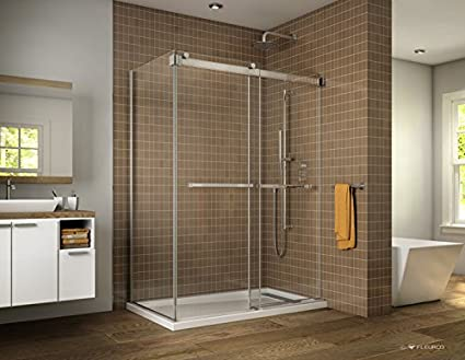 "FLEURCO 57/""-60/"" x 75/"" GEMINI FRAMELESS SLIDING BYPASS SHOWER DOOR"