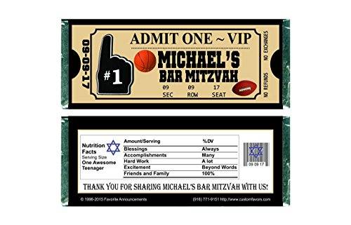 Sports Ticket Theme Bar Mitzvah Chocolate Bar Wrappers (set of (Bar Mitzvah Themes)