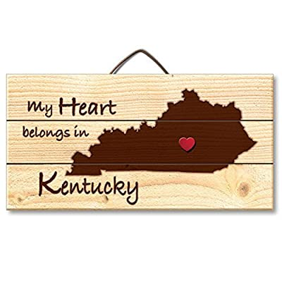 Ruskin352 Kentucky Laser Etched Wood Plaque Hanging Sign with Heart Shaped Push Pin, 6 x 12 inch