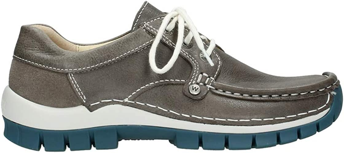 Wolky Comfort Schnürschuhe Seamy Fly 35208 graublau Leder