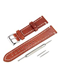Beauty7 18mm Brown Oil Wax Premium Genuine Calfskin Leather Watch Band Strap Kit With Matte Silver Buckle