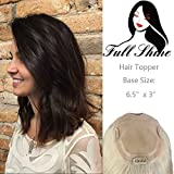 Full Shine Clip in Top Hairpiece Toupee For Thinning Hair 20 Inch Color #2 Darkest Brown Crown Hair Extensions Remy Human Hair Top Crown Hair Toppers 6.5x3'' 65g