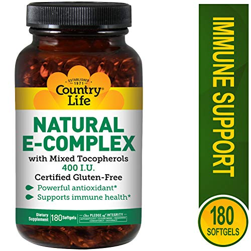 Country Life - Natural Vitamin E-Complex - 400 IU With Mixed Tocopherols - 180 - Natural Vitamin Country Life
