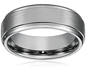 8MM Men's Titanium Ring Wedding Band with Flat Brushed Top and Polished Finish Edges [Size 7]