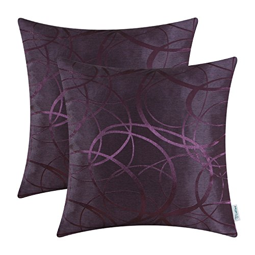 Purple Toss Pillow (Pack of 2 CaliTime Cushion Covers Throw Pillow Covers Cases for Couch Sofa Home Decor, Modern Circles Rings Geometric, 20 X 20 Inches, Deep Purple)