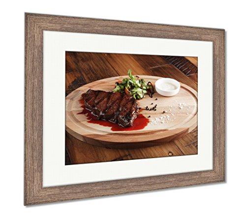 Ashley Framed Prints Denver Steak With Salad, Wall Art Home Decoration, Color, 26x30 (frame size), Rustic Barn Wood Frame, AG6388390