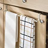 "mDesign Adjustable, Expandable Kitchen Over Cabinet Towel Bar Rack - Hang on Inside or Outside of Doors, Storage for Hand, Dish, Tea Towels - 9.25"" to 17"" Wide, 2 Pack - Satin"