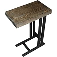 The Alex C Table / End Table / Laptop Stand, Solid Wood Top w/Black Welded Steel