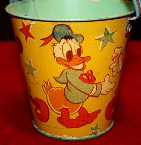 - 1930's Disney SAND PAIL, Happynak, MICKEY MOUSE & DONALD, Litho, WALT DISNEY Ltd, FREE U.S. SHIP!!!1