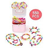 Pop Snap Beads Kids Jewelry Making Kit Beading Supplies Made Necklaces Flowers Bracelets Rings Creative DIY Toys as Christmas Birthday Gifts for Girls Over 3 4 5 6 7 8+ Year(550PCS)