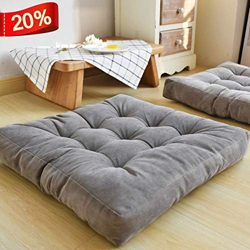 HIGOGOGO Solid Square Seat Cushion, Tufted Thicken Pillow Seat Corduroy Chair Pad Tatami Floor Cushion for Yoga Meditation Living Room Balcony Office Outdoor, Grey, 22x22 Inch (Seating For Pillows Floor)