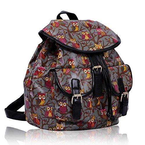 Ladies Oilcloth Grey Owl Print Rucksack Backpack Girls Leather Look Trim School Bag