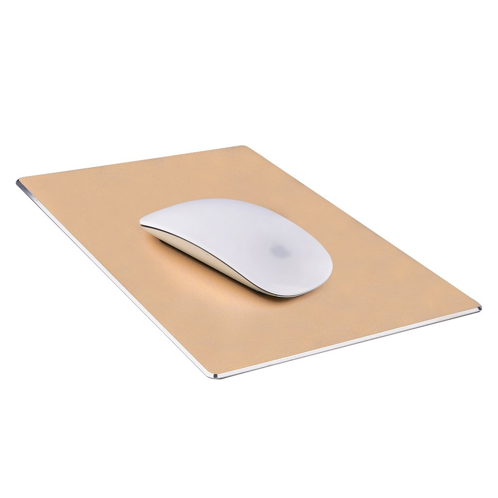 Qcute Mouse Pad, Gaming Aluminum Mouse Pad 9.45 X 7.87 Inch W Non-Slip Rubber Base & Micro Sand Blasting Aluminum Surface for Fast and Accurate Control (Large, Gold)