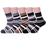 Men's 6 pairs Solid Color Super Soft Cozy Fuzzy Winter Warm Crew Socks (5 pairs Stripe)