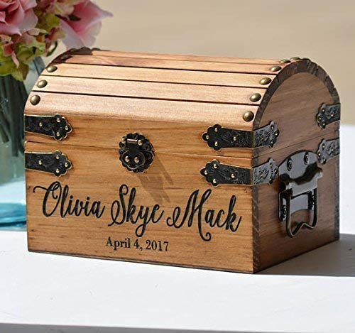 New Baby Gift Box, Infant Keepsake Box, Small Memory Trunk, Boho Shower Gift for Mom Ideas, Custom Engraved Treasure Chest For -