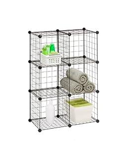 Honey Can Do SHF 02113 Modular Mesh Storage Cube, 6 Pack, Black, 43Hx29W
