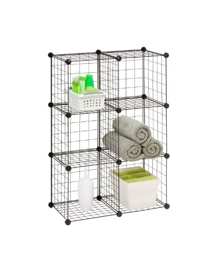 Honey-Can-Do SHF-02113 Modular Mesh Storage Cube, 6-Pack, Black, 43Hx29W (Honey Can Do Storage Cubes compare prices)