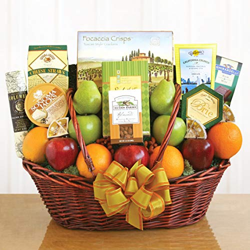 Fruit Cheese Nuts and Meat Gift Basket with Crackers and Chocolate by Gifts to Impress
