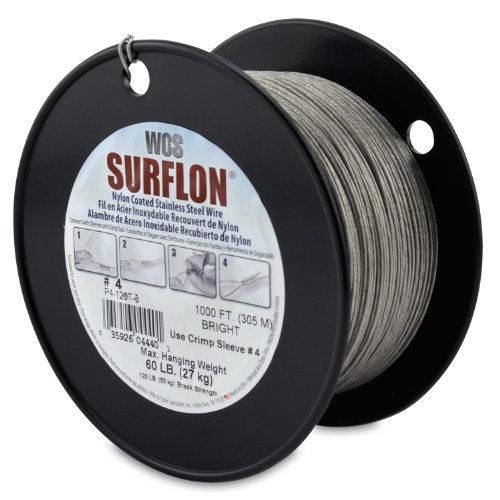 Surflon Size 4-60-Pound Break 1000-Feet Crimping Picture Wire Nylon Coated Stainless Steel, Bright ()