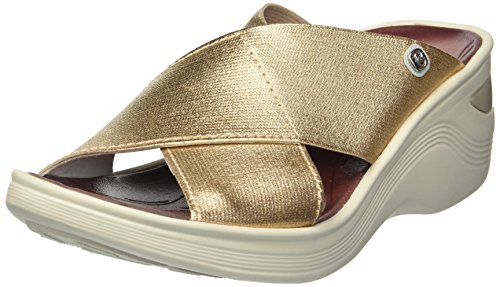 BZees Women's Desire Sandal, Gold/Metallic Gore, 6 W US