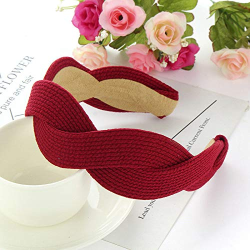 (Fashion Sweet Wide Hairband Women Vintage Cross Headband Hair Accessories (Colors - wine red))