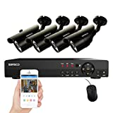 SANSCO Smart CCTV Security Camera System, 8-Channel 1080N DVR Recorder with 4x Super HD 1MP Outdoor Cameras (1280×720 Bullet Cam, Rapid USB Storage Backup, Vandal Proof, Night Vision, No Hard Drive) For Sale